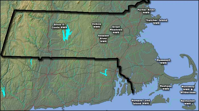 Map showing the locations of the National Wildlife Refuges in Massachusetts