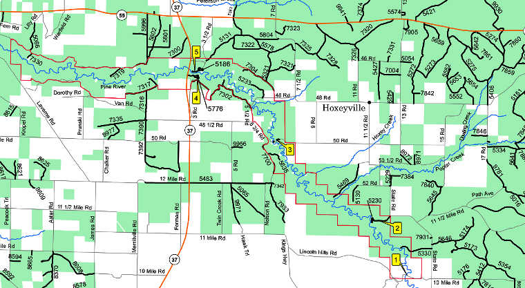 Map of the Pine National Scenic River area