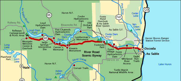 Map of the river Road National Scenic Byway