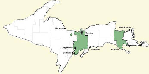 Map of Hiawatha National Forest