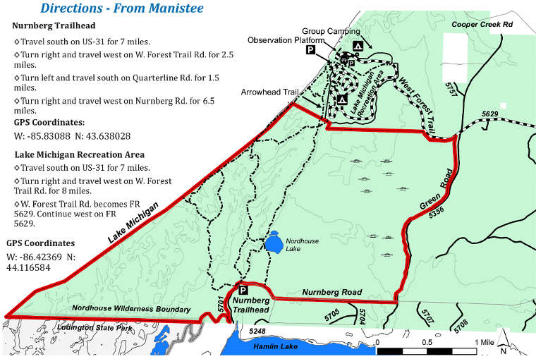 Map of the Nordhouse Dunes Wilderness area