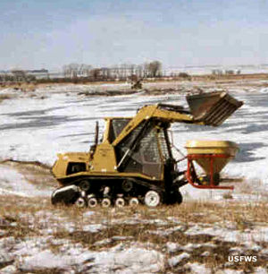 Broadcast spreader at Fergus Falls Wetland Management District
