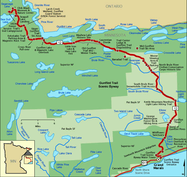 Gunflint Trail National Scenic Byway area map