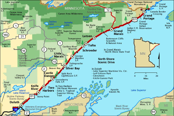North Shore Scenic Drive map