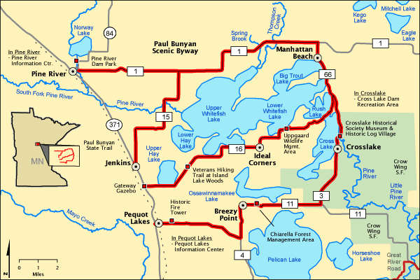 Paul Bunyan Scenic Byway area map