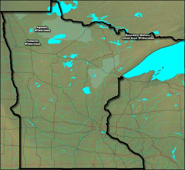 Locations of the National Wilderness Areas in Minnesota