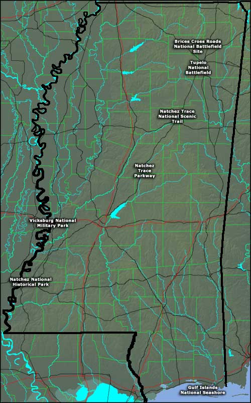 Locations of the National Park Service Sites in Mississippi
