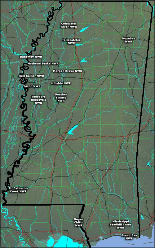 Locations of the National Wildlife Refuges in Mississippi