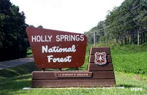 Sign marking Holly Springs National Forest
