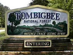 Sign marking Tombigbee National Forest
