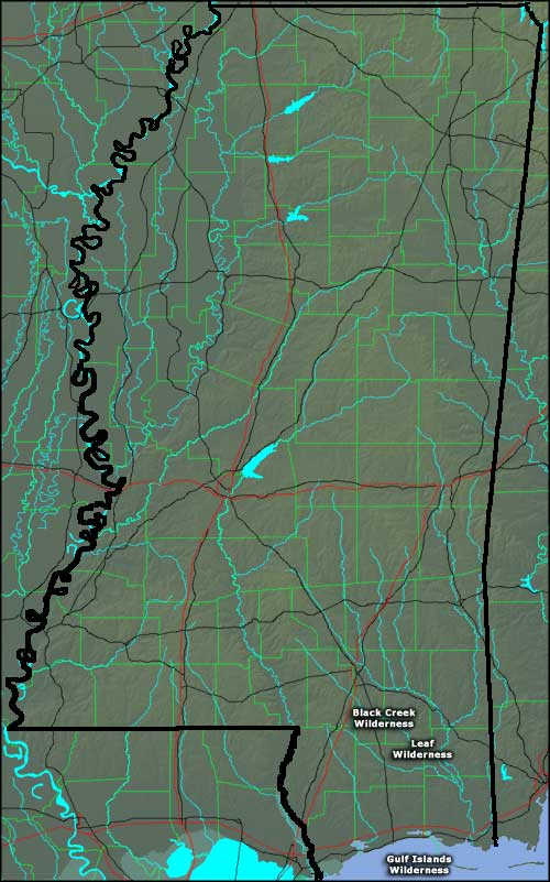 Locations of the wilderness areas in Mississippi