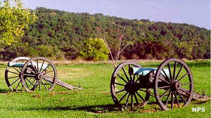 Cannons on the battlefield