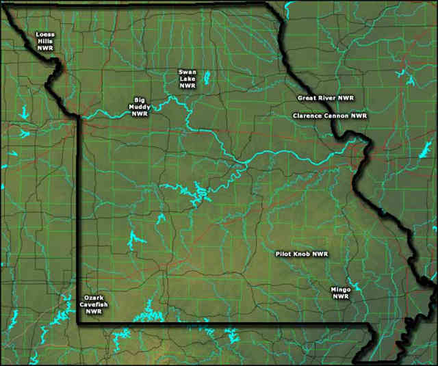 Locations of the National Wildlife Refuges in Missouri
