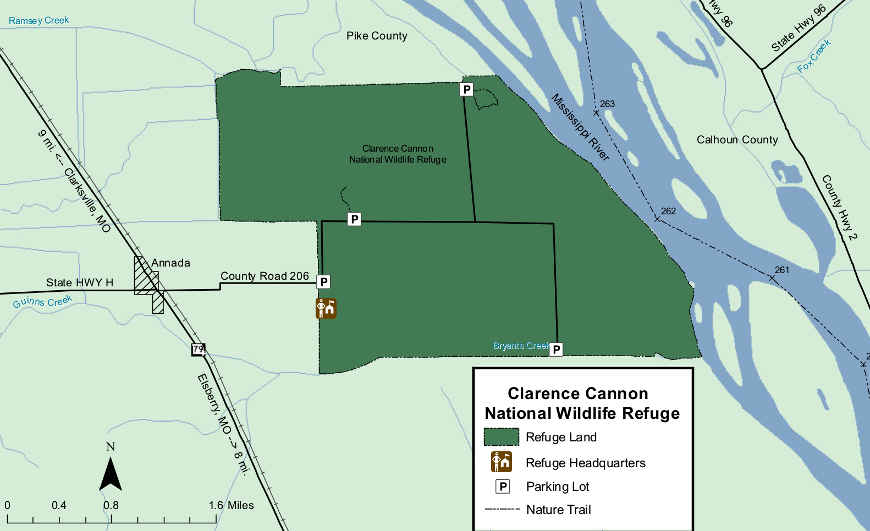 Map of Clarence Cannon National Wildlife Refuge