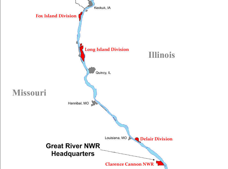Map showing locations of the units of Great River National Wildlife Refuge