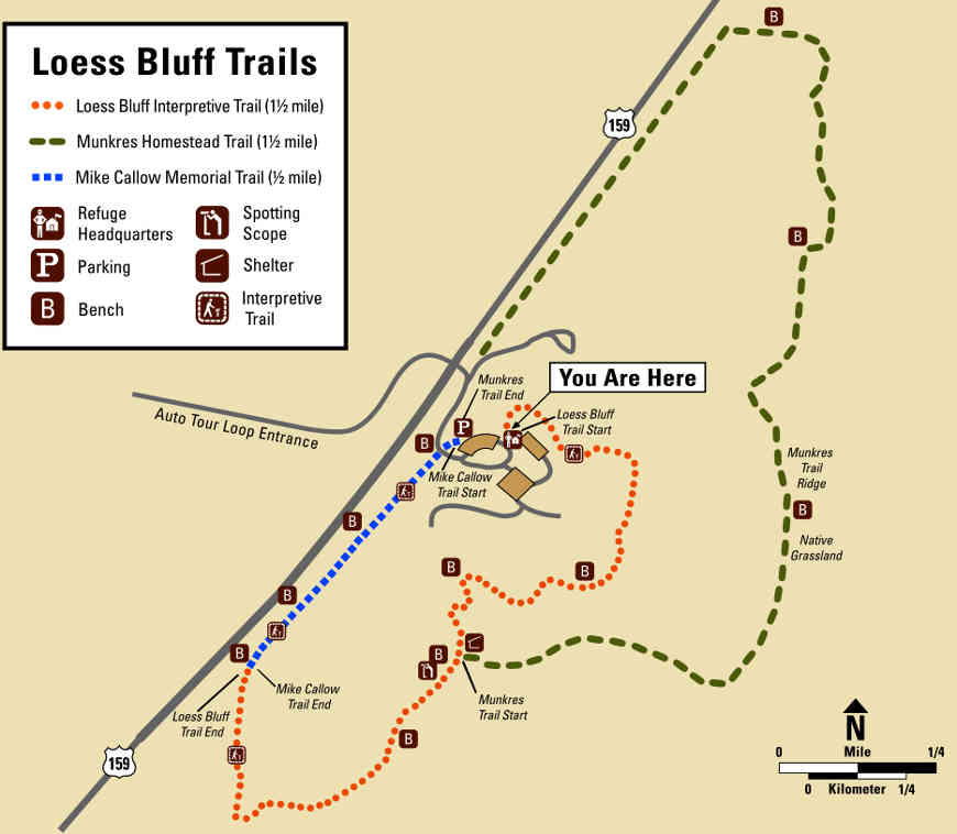 Map of the hiking trails at Loess Bluffs NWR