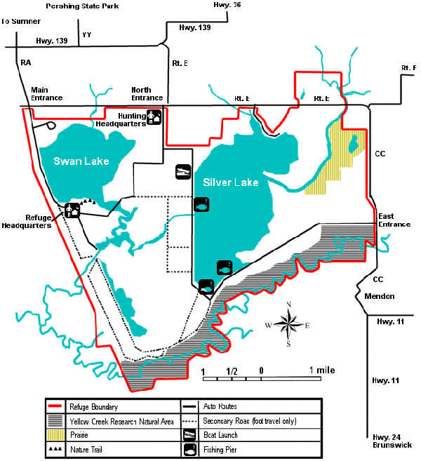 Map of Swan Lake National Wildlife Refuge