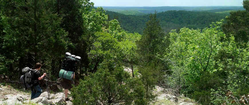 Hiking on the Ozark National Recreation Trail