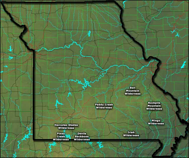 Locations of the designated National Wilderness Areas in Missouri