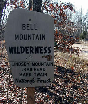 Sign marking a trailhead to Bell Mountain Wilderness