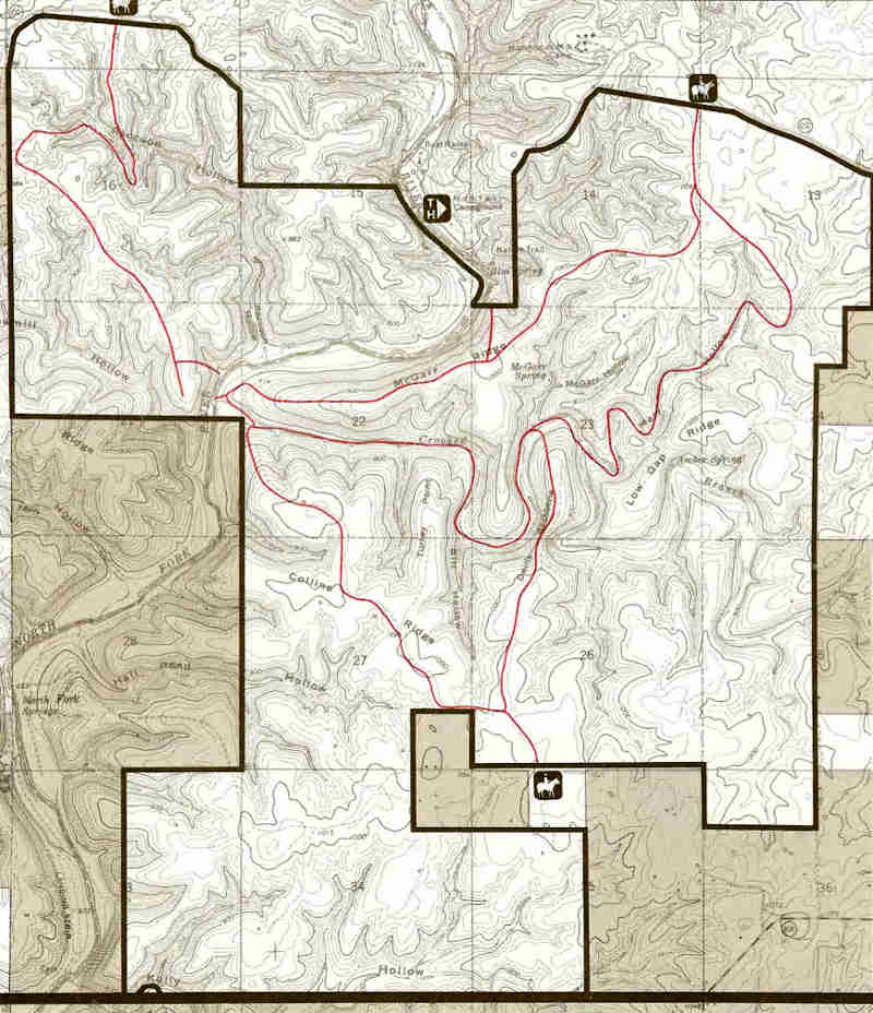 Map of the Devils Backbone Wilderness area