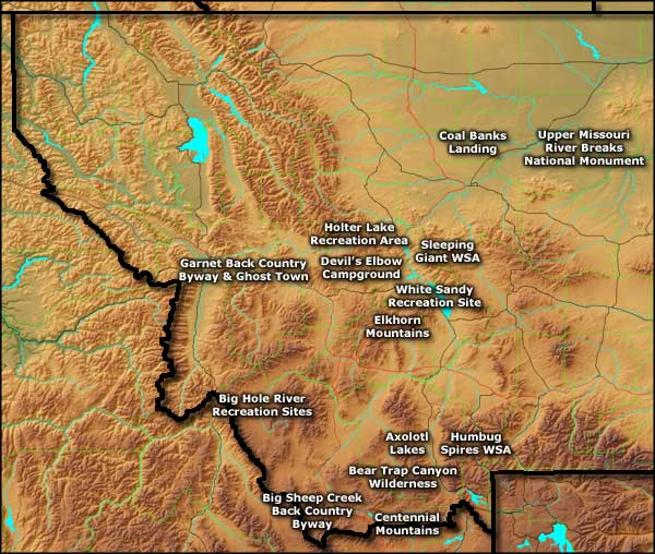 Map of Bureau of Land Management Sites in western Montana