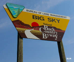 Sign marking the Big Sky Backcountry Byway