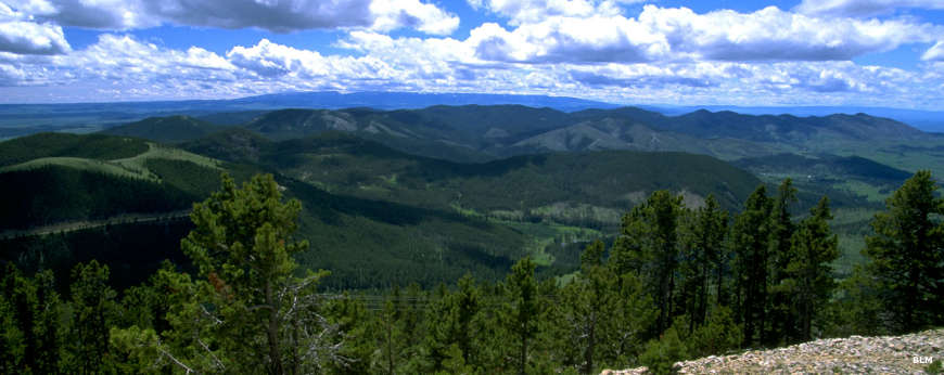 View from high up looking across the Judith Mountains in Lewis & Clark National Forest