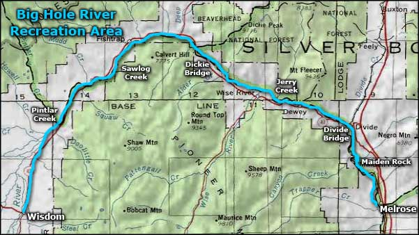 Big Hole River Recreation Sites map