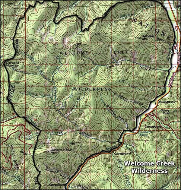 Welcome Creek Wilderness map
