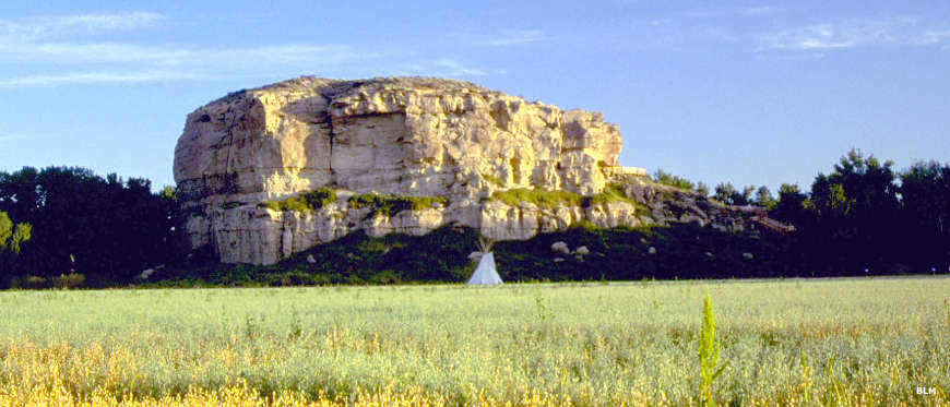 A view with Pompeys Pillar National Monument in the distance