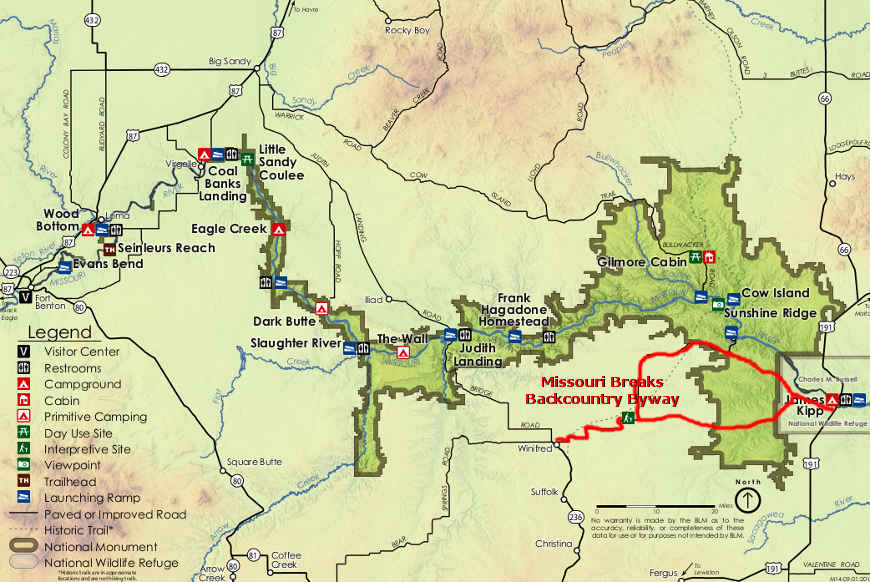 Upper Missouri River Breaks National Monument area map
