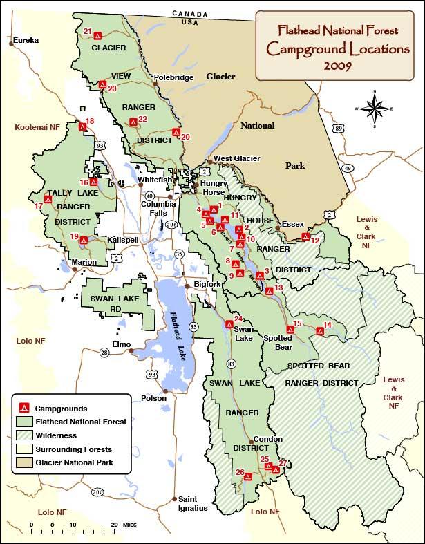 Map showing campground locations on Flathead National Forest