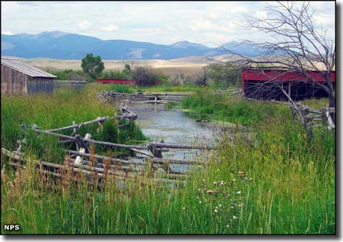Sheds and the stream at Grant-Kohrs Ranch National Historic Site