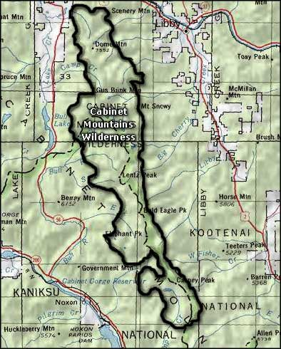 Cabinet Mountains Wilderness area map