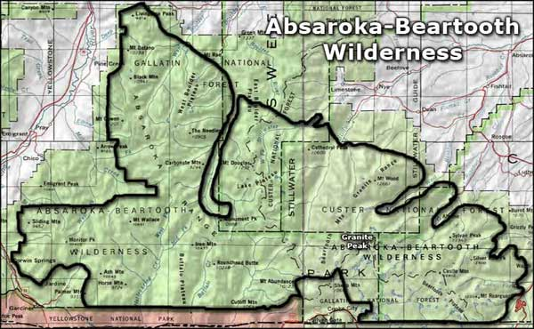 Map of the Absaroka-Beartooth Wilderness area