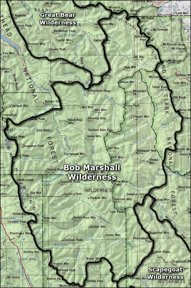 Area map of the Bob Marshall Wilderness