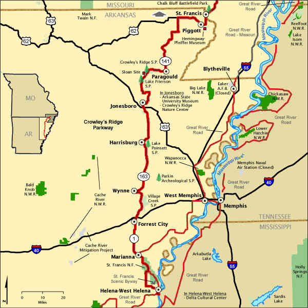 Crowley's Ridge Parkway Arkansas map