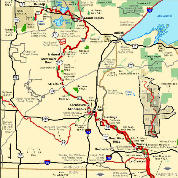 Great River Road The Sights And Sites Of America - River road map