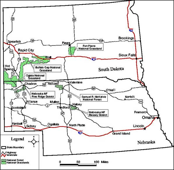 Locations of the units within the jurisdiction of Nebraska National Forests and Grasslands