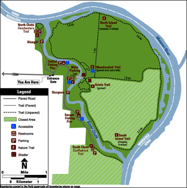 Map of Boyer Chute National Wildlife Refuge
