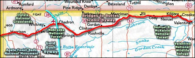 Map of the Bridges to Buttes Scenic Byway area