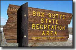 Box Butte Reservoir State Recreation Area sign