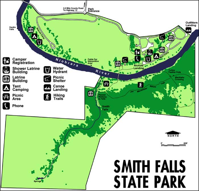 Map of Smith Falls State Park