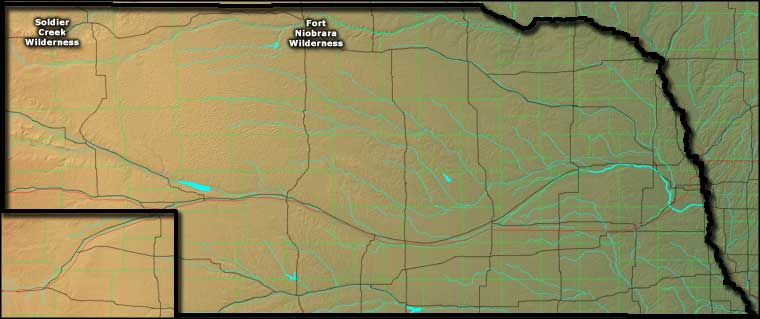 Locations of the designated National Wilderness Areas in Nebraska