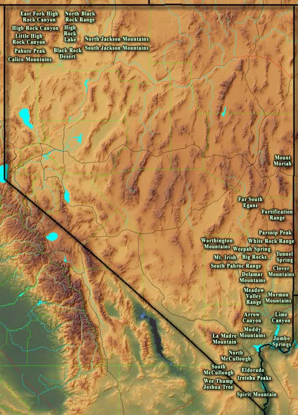 Locations of the National Wilderness Areas in Nevada