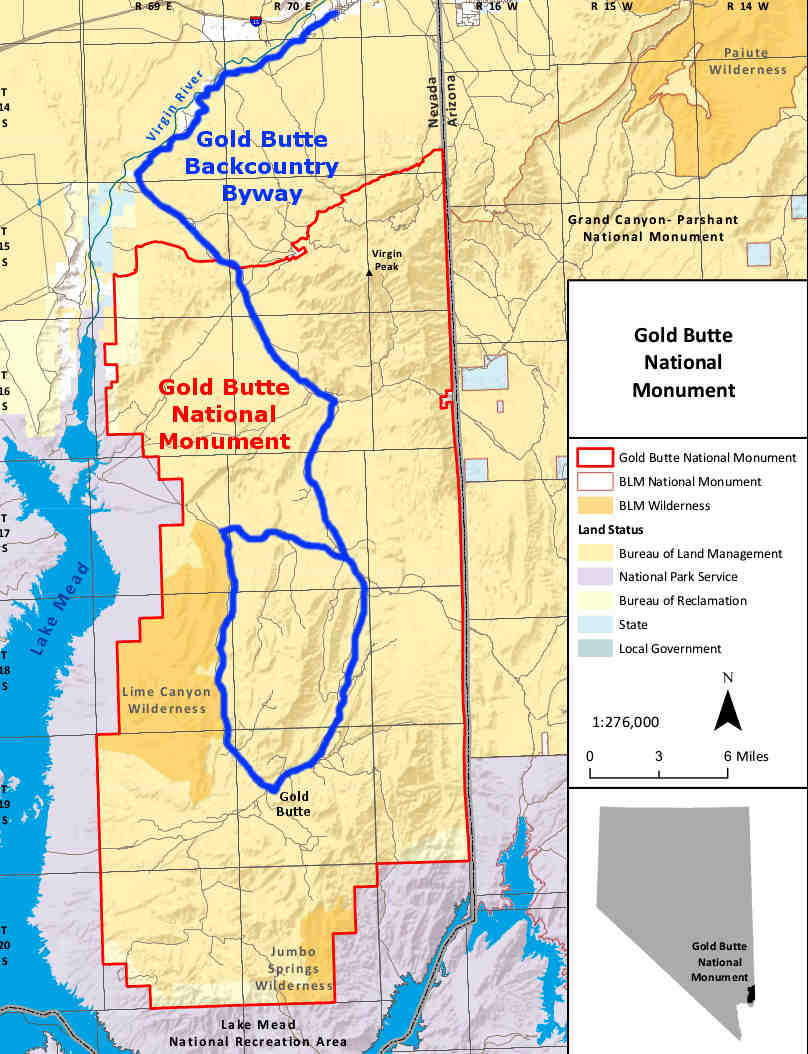 Gold Butte Backcountry Byway area map