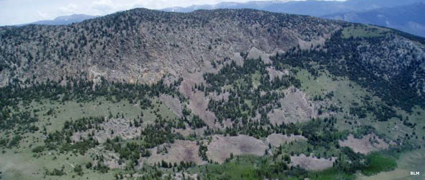 An aerial view of the upper part of Heuser Mountain in Bristlecone Wilderness