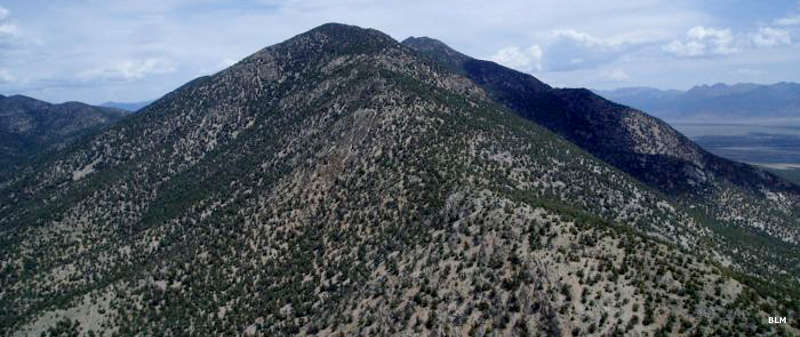 An aerial view of Heuser Mountain in Bristlecone Wilderness