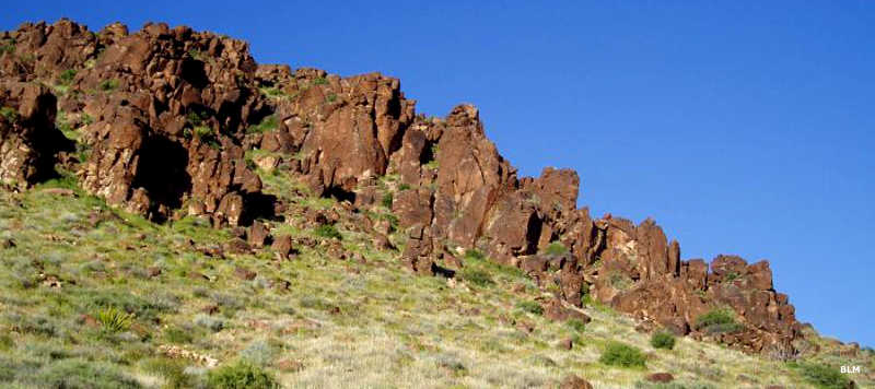 A basalt ridge comes to an end in Meadow Valley Range Wilderness